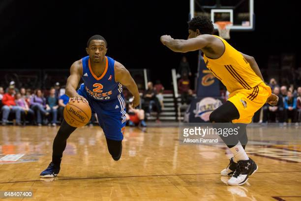 Doron Lamb of the Westchester Knicks drives against the Canton Charge at the Canton Memorial Civic Center on March 5 2017 in Canton Ohio NOTE TO USER...