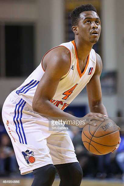 Doron Lamb of the Westchester Knicks shoots a free throw against the Santa Cruz Warriors during an NBA DLeague game on February 27 2015 at Kaiser...