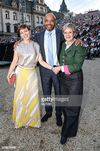 Dorota Audemars with her husband Olivier Audemars and Gloria von Thurn und Taxis attend the Tom Jones Concert during the Thurn Taxis Castle Festival...