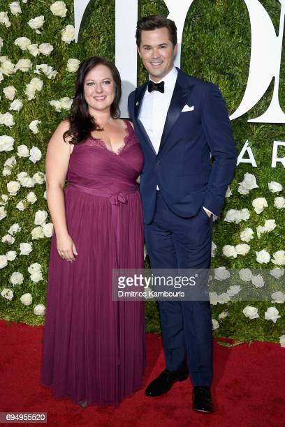 Dorota Kishlovsky and Andrew Rannells attend the 2017 Tony Awards at Radio City Music Hall on June 11 2017 in New York City