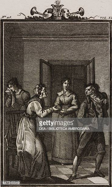 Dorotea Fabrizio and Valentina engraving by Giovanni Zuliani from a drawing by G Steneri from The Housekeeper Act III Scene 6 Comedies Volume 40 by...