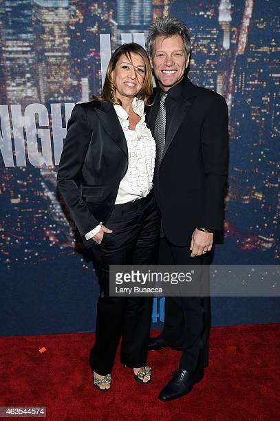 Dorothea Hurley and Jon Bon Jovi attend SNL 40th Anniversary Celebration at Rockefeller Plaza on February 15 2015 in New York City
