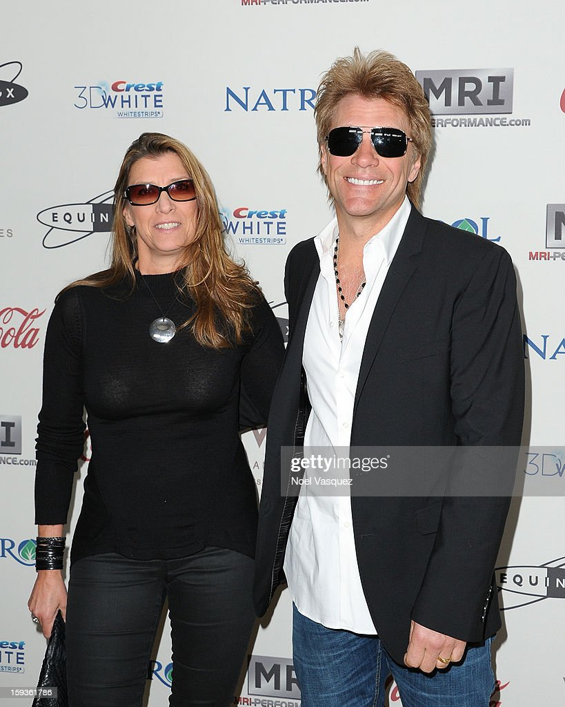 Dorothea Hurley (L) and Jon Bon Jovi attend the 'Gold Meets Golden' event hosted at Equinox on January 12, 2013 in Los Angeles, California.