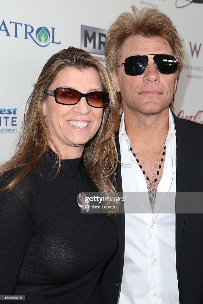 Dorothea Hurley (L) and musician Jon Bon Jovi arrive at CW3PR Presents the inaugural 'Gold Meets Golden' event at New Flagship Equinox Sports Club on January 12, 2013 in Los Angeles, California.