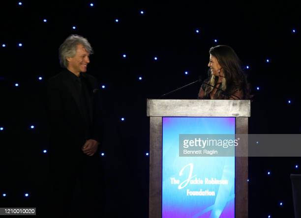 Dorothea Hurley speaks on stage as she and Jon Bon Jovi accept their Humanitarian Award during Jackie Robinson Foundation Robie Awards Dinner at...