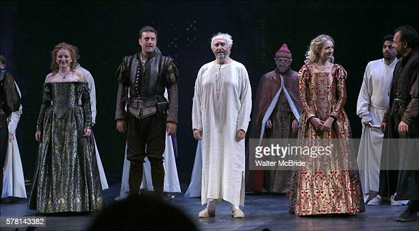 Dorothea Myer-Bennett, Dan Fredenburg, Jonathan Pryce, and Rachel Pickup and cast during the Opening Night curtain call bows in The Shakespeare's...