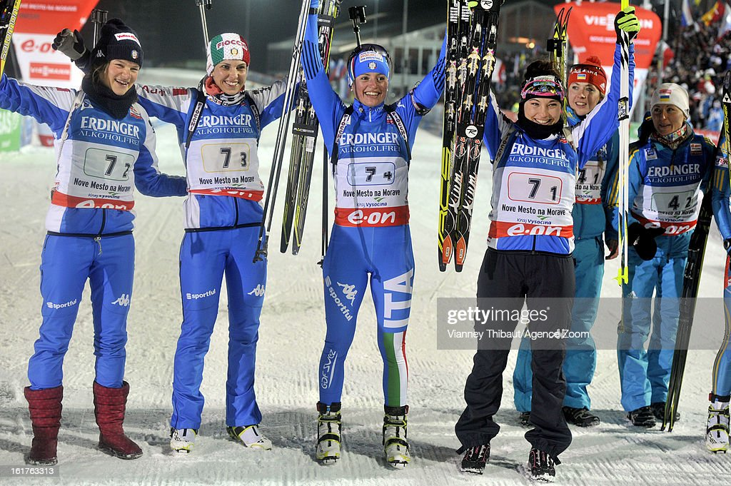 Dorothea Wierer , Michela Ponza , Karin Oberhofer, Nicole Gontier of Italy celebrate after taking 3rd place during the IBU Biathlon World Championship Women's 4x6km Relay on February 15, 2013 in Nove Mesto, Czech Republic.