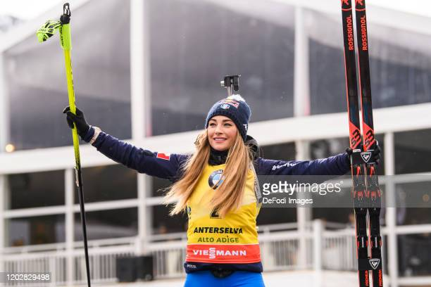 Dorothea Wierer of Italy at the medal ceremony during the Women 12.5 km Mass Start Competition at the IBU World Championships Biathlon...