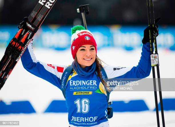 Dorothea Wierer of Italy celebrates after placing second in the women's 10 km pursuit event of the IBU Biathlon World Cup in Oberhof eastern Germany...