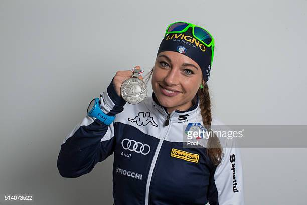 Dorothea Wierer of Italy celebrates after winning the silver medal in the women's 10km pursuit during day four of the IBU Biathlon World...