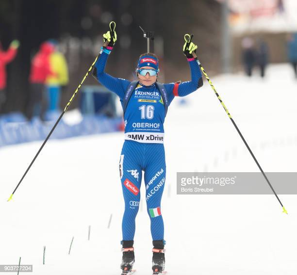 Dorothea Wierer of Italy celebrates during the 10 km IBU World Cup Biathlon Oberhof women's Persuit on January 7 2018 in Oberhof Germany