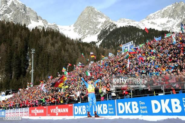 Dorothea Wierer of Italy celebrates winning the Women 10 km Pursuit Competition at the IBU World Championships Biathlon Antholz-Anterselva on...