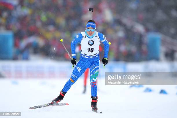 Dorothea Wierer of Italy competes at the IBU Biathlon World Championships Women 75km Sprint at Swedish National Biathlon Arena on March 08 2019 in...