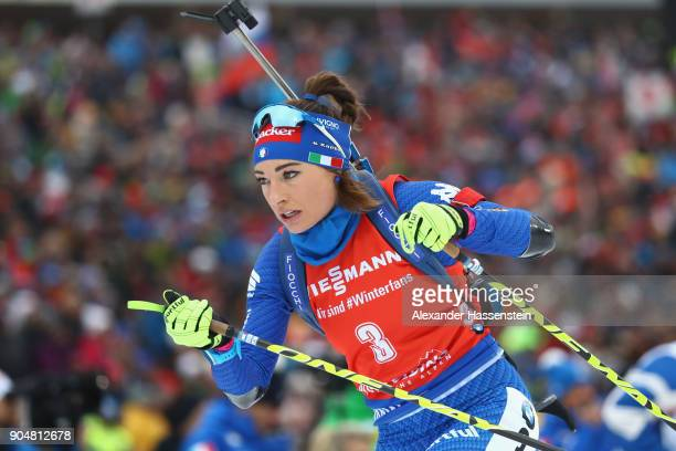 Dorothea Wierer of Italy competes at the women's 125 km mass start competition during the IBU Biathlon World Cup at Chiemgau Arena on January 14 2018...