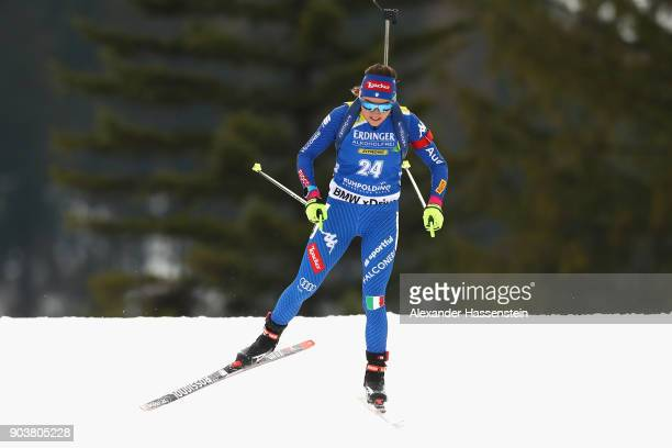 Dorothea Wierer of Italy competes at the women's 15km individual competition during the IBU Biathlon World Cup at Chiemgau Arena on January 11 2018...