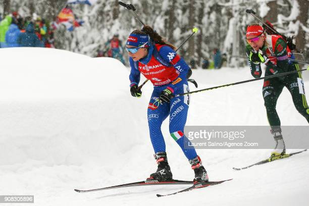 Dorothea Wierer of Italy competes Denise Herrmann of Germany competes during the IBU Biathlon World Cup Men's and Women's Mass Start on January 21...