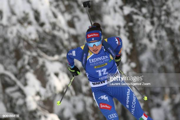 Dorothea Wierer of Italy competes during the IBU Biathlon World Cup Women's Sprint on January 18 2018 in AntholzAnterselva Italy