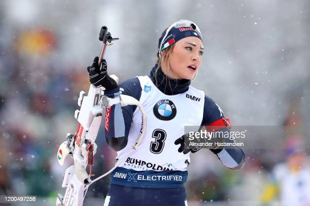 Dorothea Wierer of Italy competes during the Women 10 km Pursuit Competition at the BMW IBU World Cup Biathlon Ruhpolding on January 19, 2020 in...