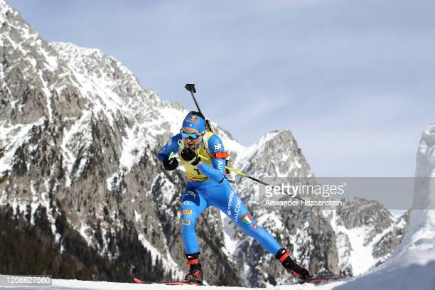 Dorothea Wierer of Italy competes during the Women 10 km Pursuit Competition at the IBU World Championships Biathlon AntholzAnterselva on February 16...