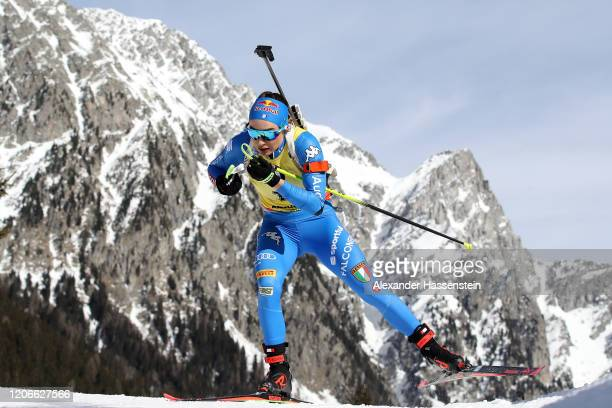 Dorothea Wierer of Italy competes during the Women 10 km Pursuit Competition at the IBU World Championships Biathlon Antholz-Anterselva on February...