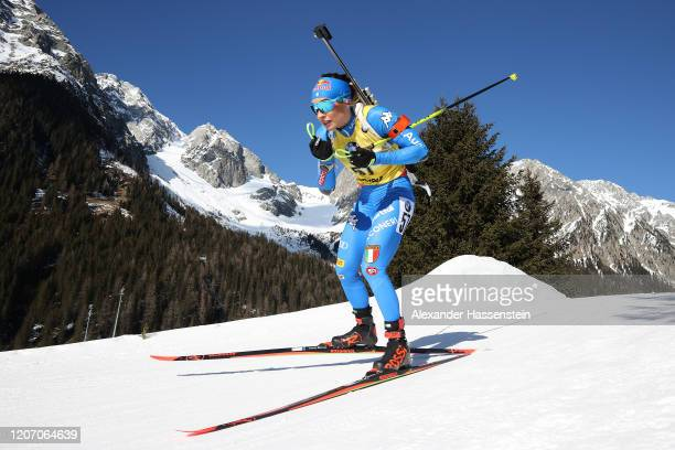 Dorothea Wierer of Italy competes during the Women 15 km Individual Competition at the IBU World Championships Biathlon Antholz-Anterselva on...