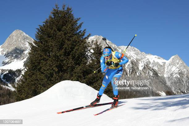 Dorothea Wierer of Italy competes during the Women 15 km Individual Competition at the IBU World Championships Biathlon AntholzAnterselva on February...