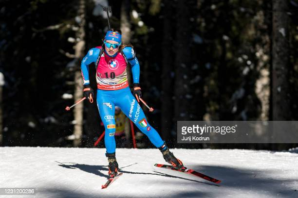 Dorothea Wierer of Italy competes during the Women 15 km Individual Competition at the IBU World Championships Biathlon Pokljuka at on February 16,...
