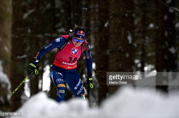Dorothea Wierer of Italy competes during the Women 15 km Individual Competition at the BMW IBU World Cup Biathlon Antholz-Anterselva on January 21,...