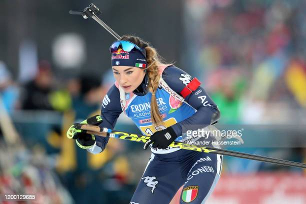 Dorothea Wierer of Italy competes during the Women 4x6 km Relay Competition at the BMW IBU World Cup Biathlon Ruhpolding on January 17, 2020 in...