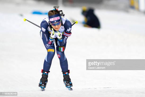 Dorothea Wierer of Italy competes during the Womens 75 km Sprint Competition at the BMW IBU World Cup Biathlon Oestersund at Swedish National...