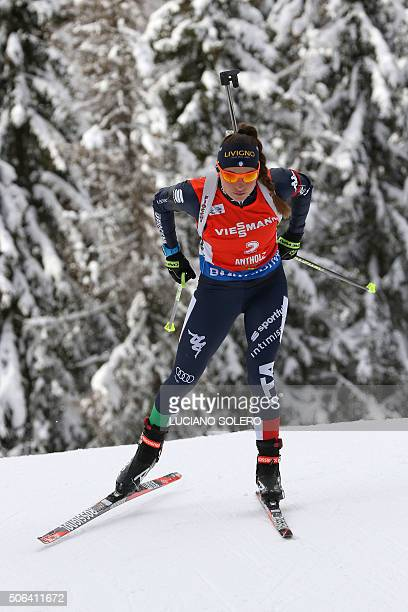 Dorothea Wierer of Italy competes in the Women 10km Pursuit Race of the IBU Biathlon World Cup in AntholzAnterselva Italy on January 23 2016 AFP...