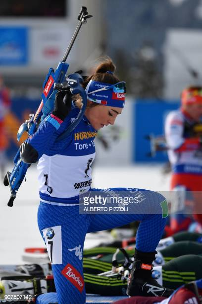 Dorothea Wierer of Italy competes in the Women's 10 km Pursuit Competition of the IBU World Cup Biathlon in Anterselva on January 20 2018 / AFP PHOTO...