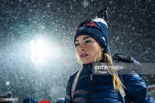 Dorothea Wierer of Italy going to the warm-up during the Women 15 km Individual Competition at the BMW IBU World Cup Biathlon Oestersund at on...