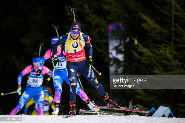 Dorothea Wierer of Italy in action competes during the Women 12.5 km Mass Start Competition at the BMW IBU World Cup Biathlon Nove Mesto at on March...