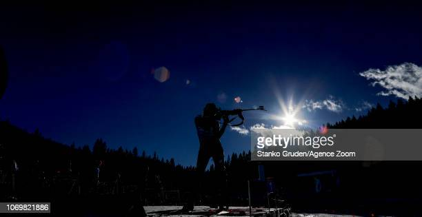 Dorothea Wierer of Italy in action during the IBU Biathlon World Cup Women's Sprint on December 8 2018 in Pokljuka Slovenia