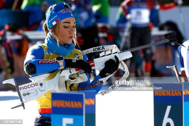 Dorothea Wierer of Italy in action during the IBU Biathlon World Championships Women's 15km Individual Competition on February 18, 2020 in Antholz...