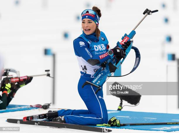 Dorothea Wierer of Italy looks on prior to the 75 km IBU World Cup Biathlon Oberhof women's Sprint on January 4 2018 in Oberhof Germany