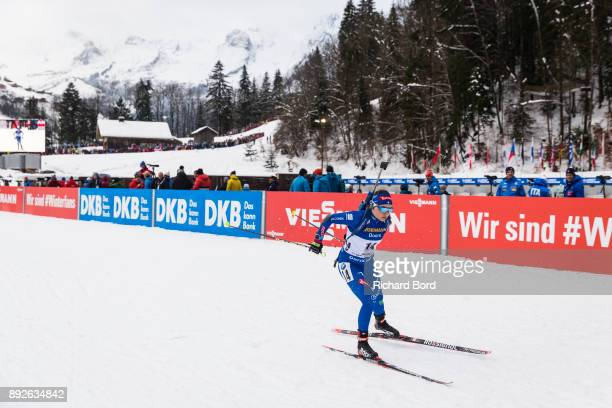 Dorothea Wierer of Italy performs during the IBU Biathlon World Cup Women's Sprint on December 14 2017 in Le Grand Bornand France