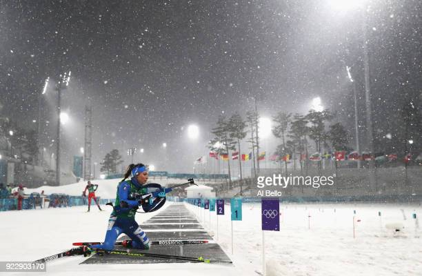Dorothea Wierer of Italy prepares to shoot during the Women's 4x6km Relay on day 13 of the PyeongChang 2018 Winter Olympic Games at Alpensia Biathlon...
