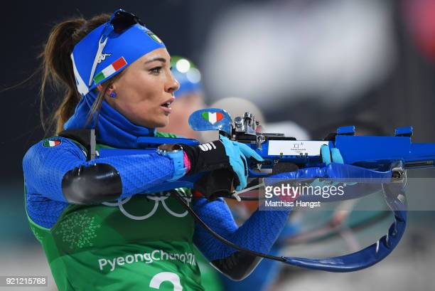 Dorothea Wierer of Italy shoots during the Biathlon 2x6km Women 2x75km Men Mixed Relay on day 11 of the PyeongChang 2018 Winter Olympic Games at...