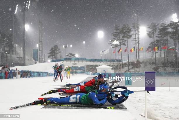 Dorothea Wierer of Italy shoots during the Women's 4x6km Relay on day 13 of the PyeongChang 2018 Winter Olympic Games at Alpensia Biathlon Centre on...