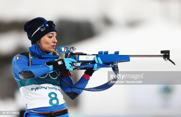 Dorothea Wierer of Italy shoots prior to the Women's 125km Mass Start Biathlon on day eight of the PyeongChang 2018 Winter Olympic Games at Alpensia...