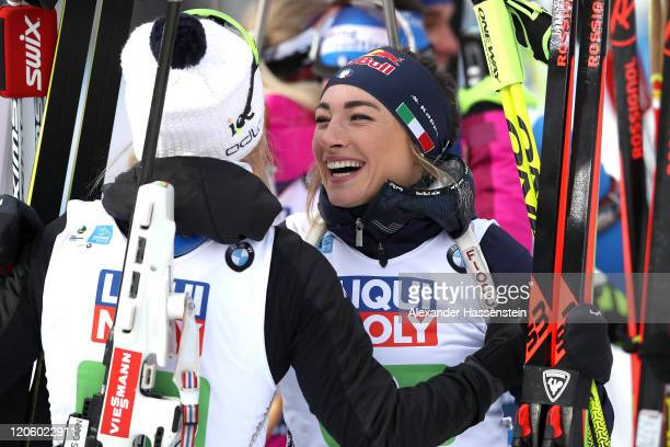 Dorothea Wierer of Italy smiles after the Mixed Relay at the IBU World Championships Biathlon AntholzAnterselva on February 13 2020 in...