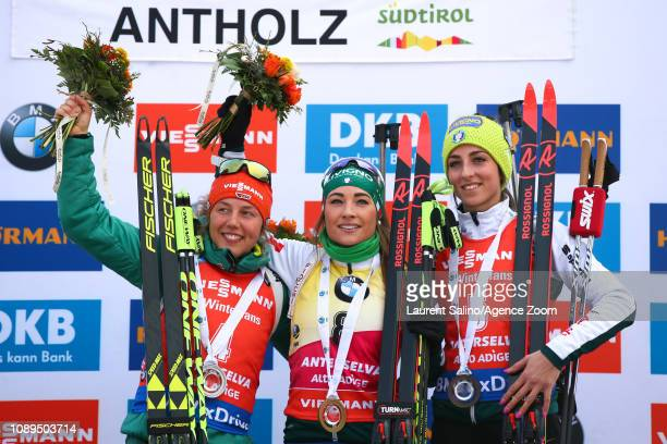 Dorothea Wierer of Italy takes 1st place, Laura Dahlmeier of Germany takes 2nd place, Lisa Vittozzi takes 3rd place during the IBU Biathlon World Cup...