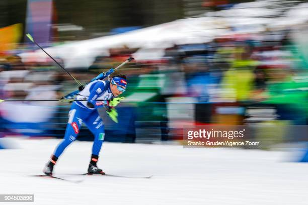 Dorothea Wierer of Italy takes 2nd place during the IBU Biathlon World Cup Women's Relay on January 13 2018 in Ruhpolding Germany