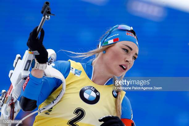 Dorothea Wierer of Italy takes 2nd place during the IBU Biathlon World Championships Men's 15 km Mass Start Competition on February 23, 2020 in...