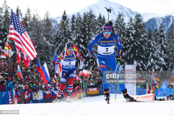 Dorothea Wierer of Italy takes 2nd place Tiril Eckhoff of Norway competes during the IBU Biathlon World Cup Men's and Women's Pursuit on January 20...