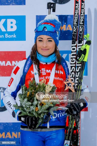 Dorothea Wierer of Italy takes 3rd place during the IBU Biathlon World Cup Men's and Women's Sprint on December 8 2017 in Hochfilzen Austria