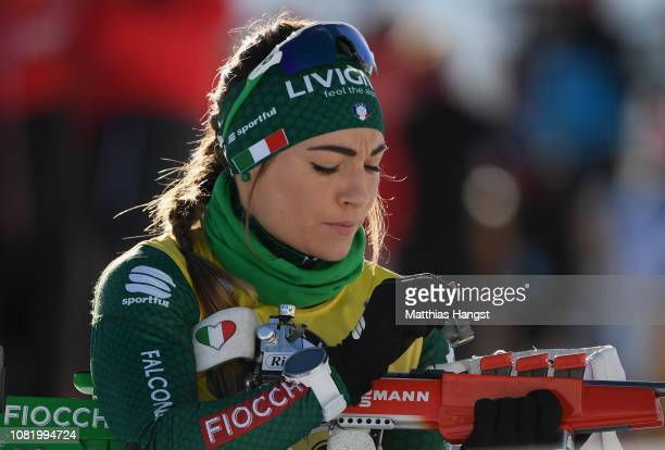 Dorothea Wierer of Italy warms up on the shooting range before the IBU Biathlon World Cup Women's 75 km Sprint on December 13 2018 in Hochfilzen...