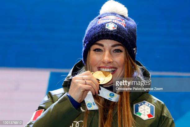 Dorothea Wierer of Italy wins the gold medal during the IBU Biathlon World Championships Women's 10 km Pursuit Competition on February 16, 2020 in...